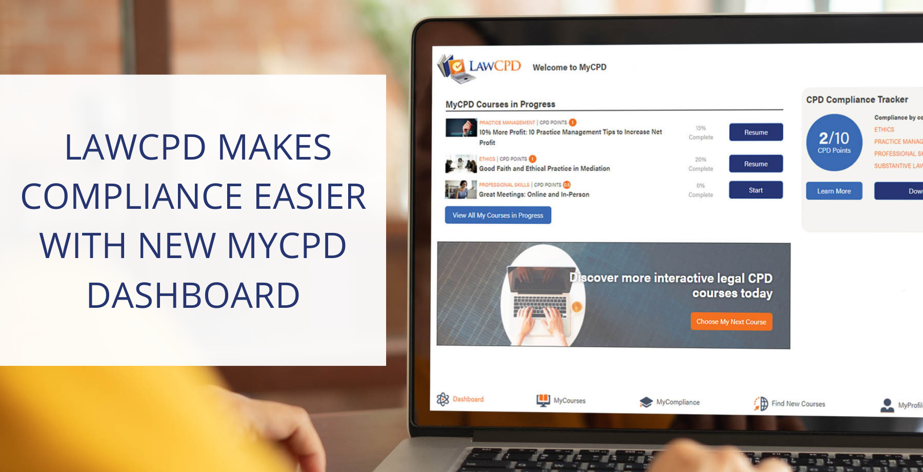 Lawyer accesses LawCPD new MyCPD dashboard to get legal CPD compliant.
