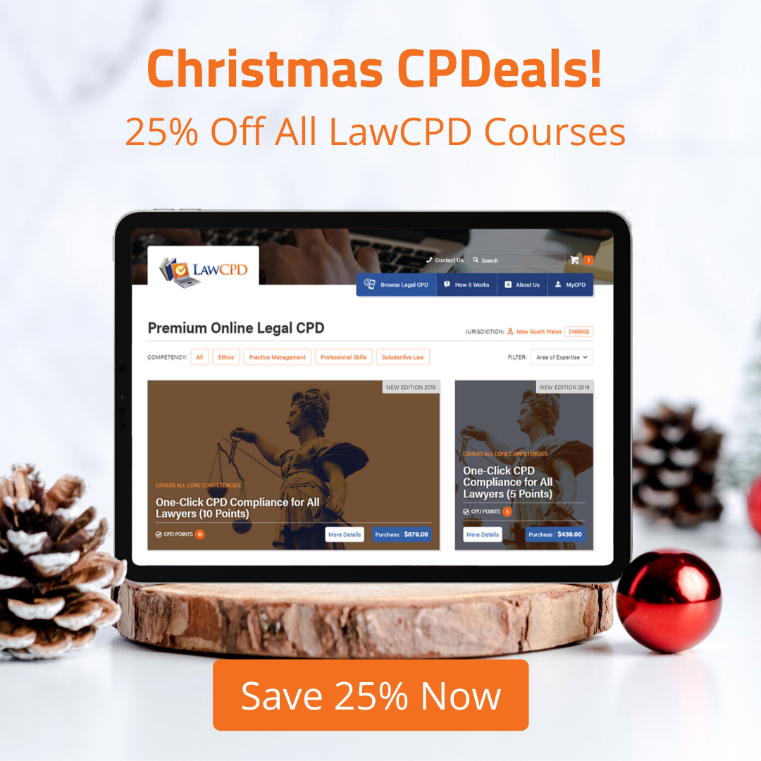 Click to save 25% on all LawCPD online courses